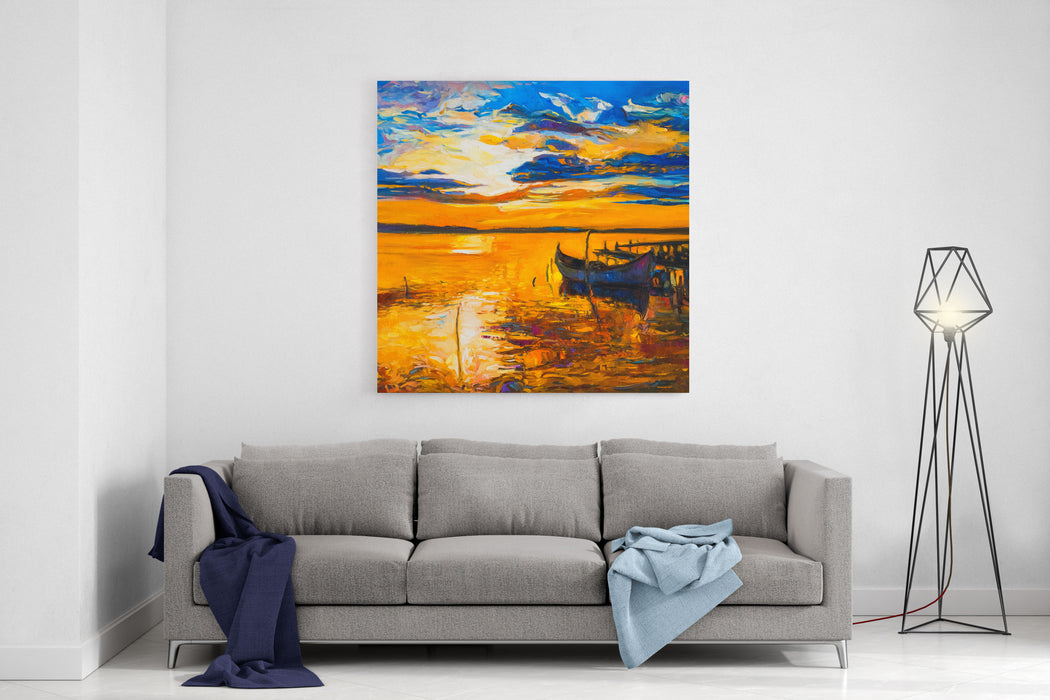 Original Oil Painting Of Boats And Sea On Canvas Sunset Over Ocean Modern Impressionism By Nikolov Canvas Wall Art Print