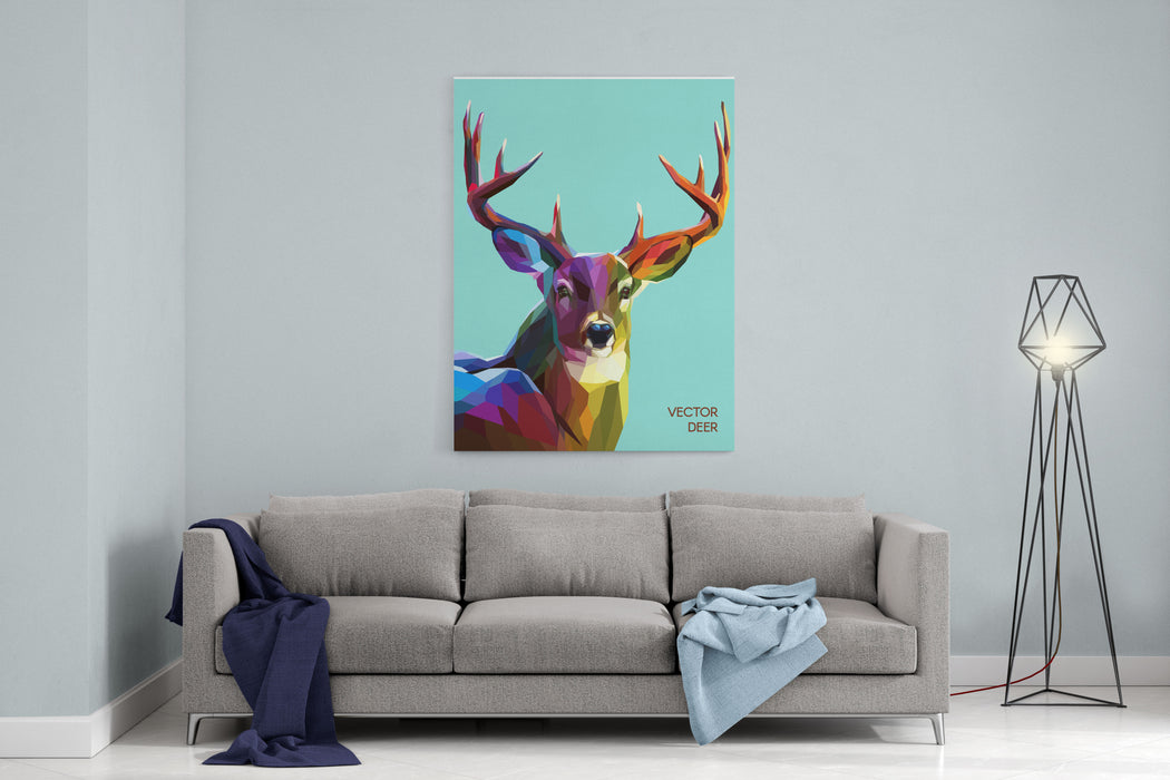 Colorful Deer Illustration  Background With Wild Animal Low Poly Deer With Horns Canvas Wall Art Print
