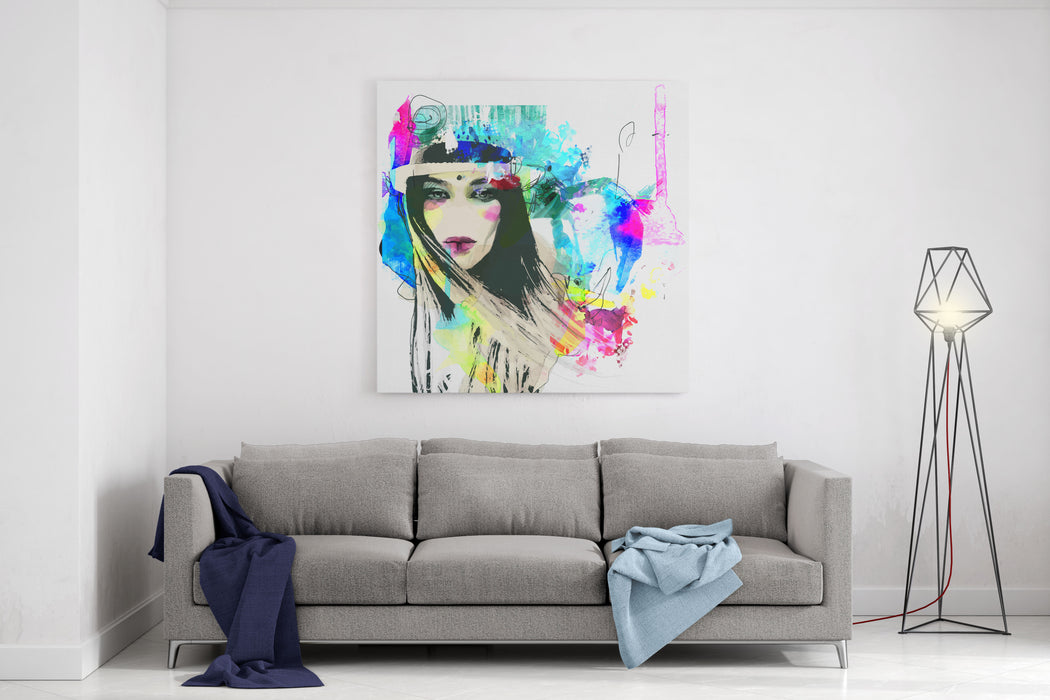 Fashion Illustration With A Face And Bright Free Hand Spots Canvas Wall Art Print