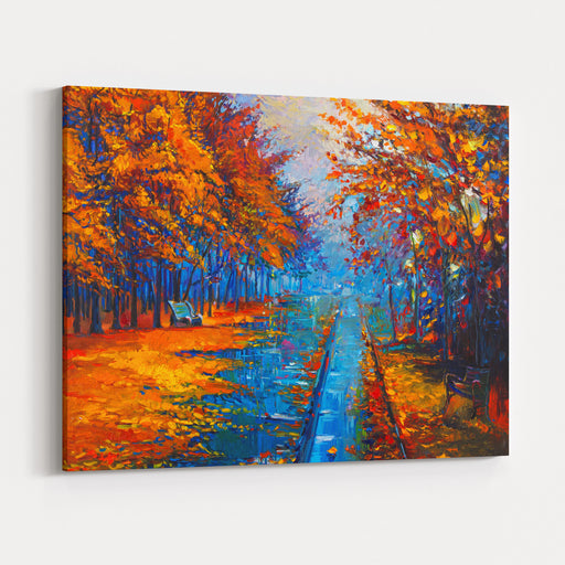 Original Oil Painting Autumn TreesModern Impressionism By Nikolov Canvas Wall Art Print