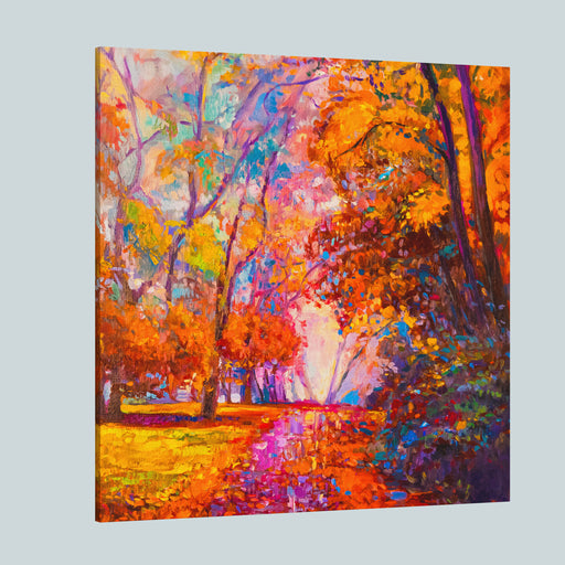 Original Oil Painting Autumn Landscape Modern Impressionism By Nikolov Canvas Wall Art Print