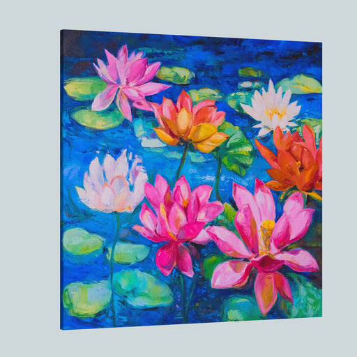 Original Oil Paintinglily Flowers Modern Impressionism By Nikolov Canvas Wall Art Print