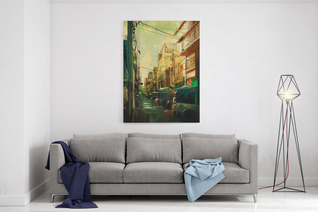 Colorful Cityscape Digital Painting,illustration Canvas Wall Art Print
