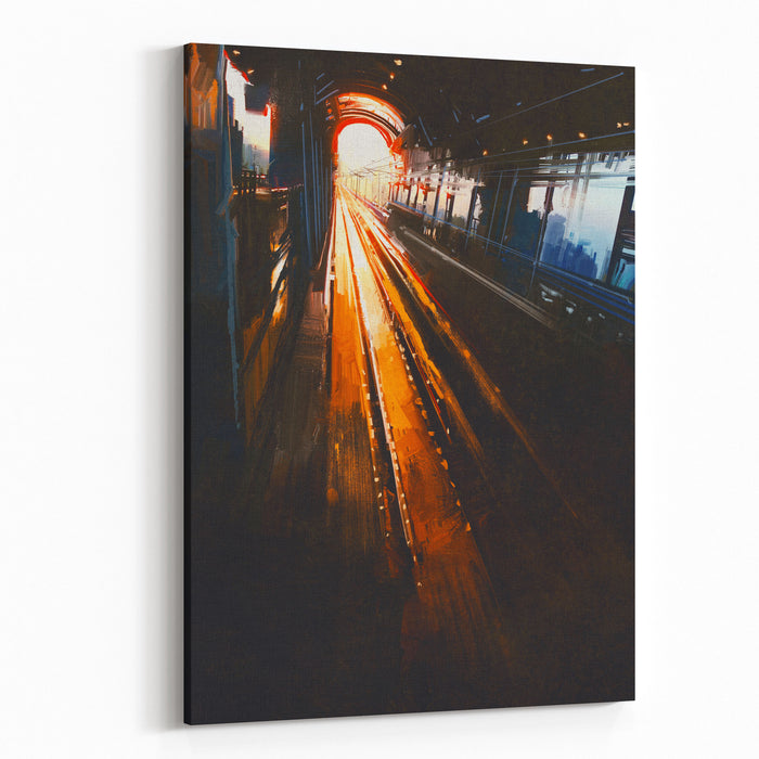 Digital Painting Of Railway Station With Sunset Canvas Wall Art Print