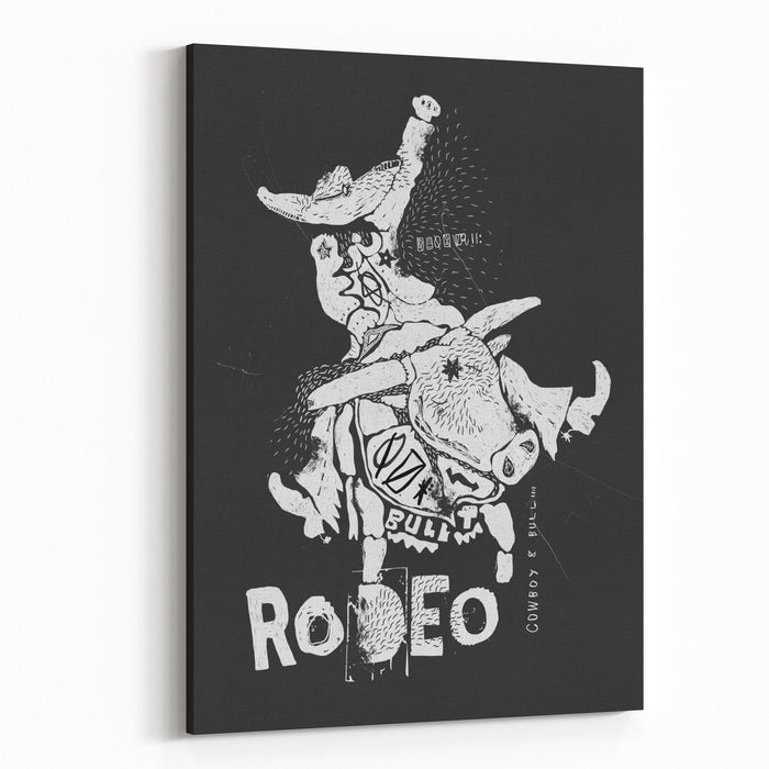 The Symbolic Image Of The Bull On Which Sits A Cowboy Canvas Wall Art Print