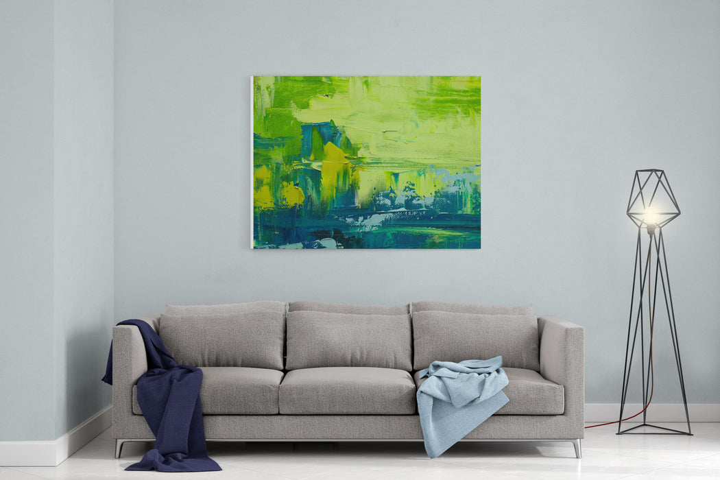 Abstract Art  Background Oil Painting On Canvas Green And Yellow  Texture Fragment Of Artwork Spots Of Oil Paint Brushstrokes Of Paint Modern Art Contemporary Art Canvas Wall Art Print