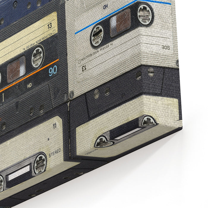 Audio Cassettes Retro Background Canvas Wall Art Print