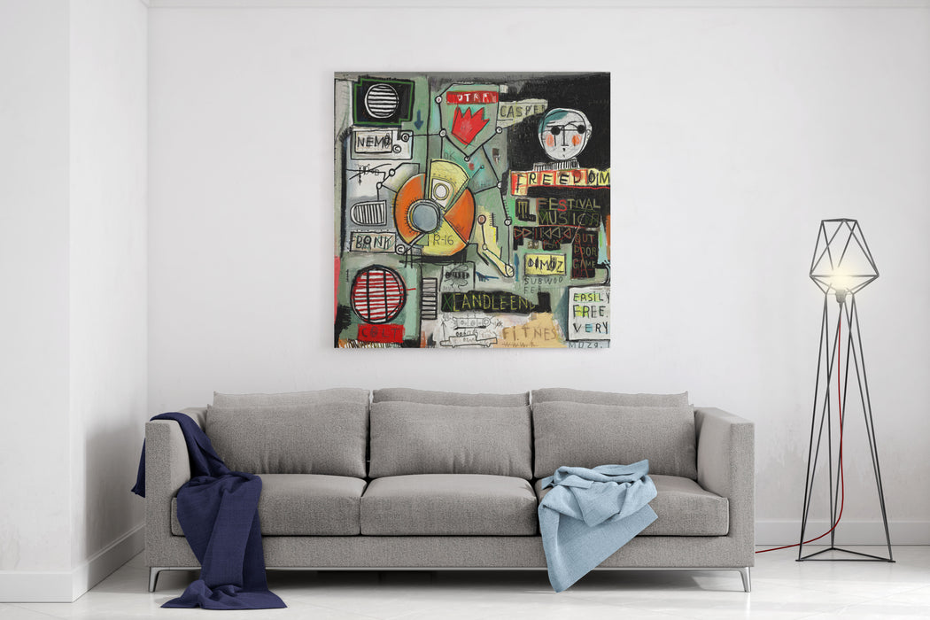 Image Of Graffiti, Which Contains A Set Of Symbols Canvas Wall Art Print