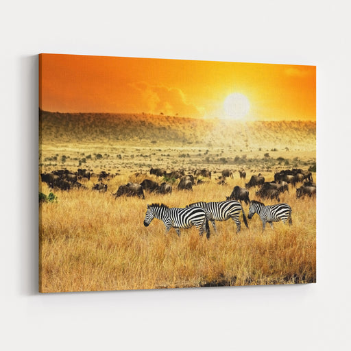 African Landscape Zebras Herd And Antelopes Wildebeest At Sunset, Kenya Canvas Wall Art Print