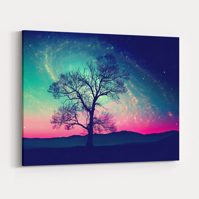 Red Alien Landscape With Alone Tree Over The Night Sky With Many Stars  Elements Of This Image Are Furnished By NASA Canvas Wall Art Print