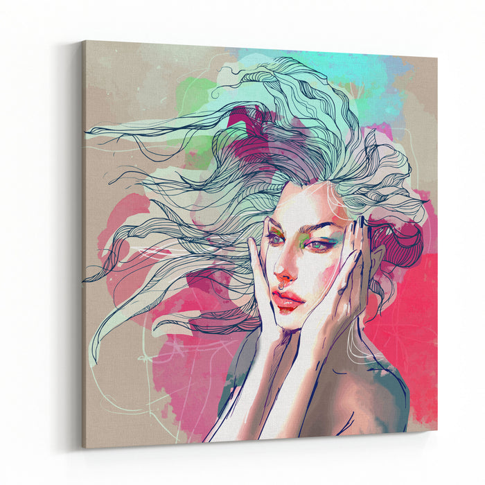Watercolor Fashion Illustration With A Beautiful Lady With Decorative Hair Canvas Wall Art Print