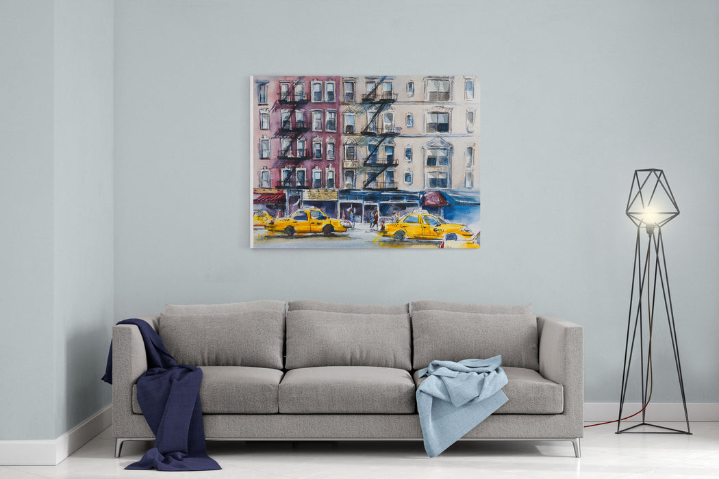 Busy New York Street Watercolor Sketch Canvas Wall Art Print