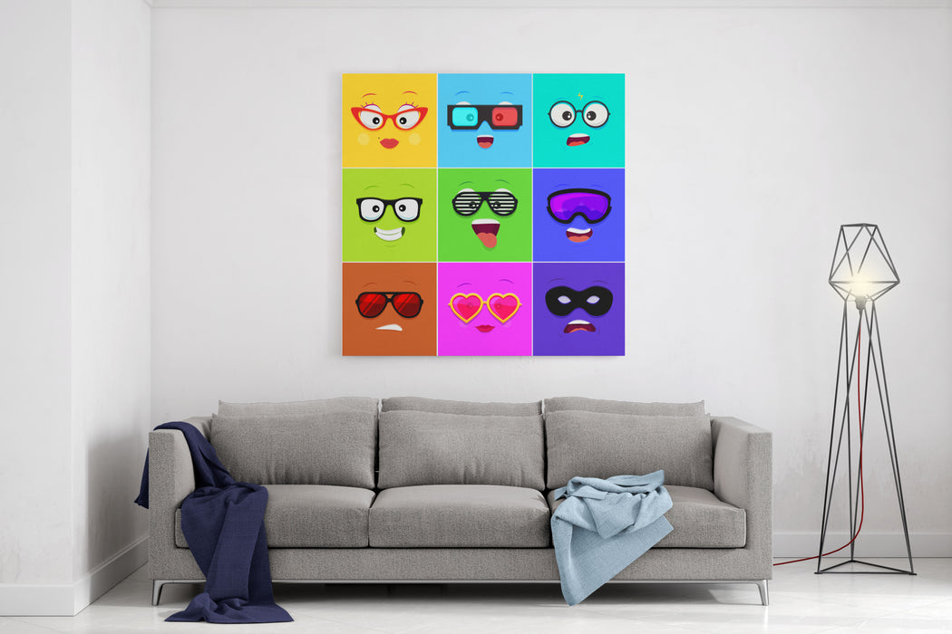 Cartoon Faces With Emotions V  Woman, D Glasses, Geek, Hipster, Club, Snowboarding, Sunglasses, Heart, Thief Mask Canvas Wall Art Print