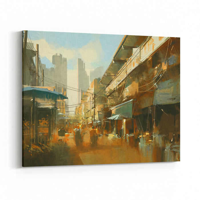 Painting Of Colorful Street Market,illustration Canvas Wall Art Print