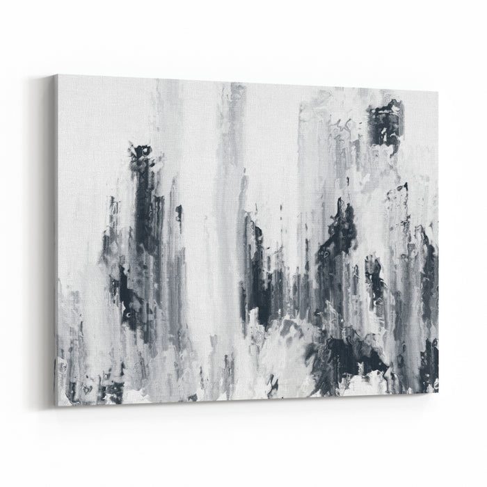 Abstract Black And White Brush Stroke Painting Texture Canvas Wall Art Print