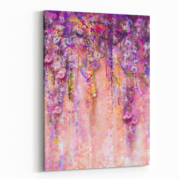 Abstract Flowers Watercolor Painting Spring Purple Flowers Wisteria With Bokeh Background Canvas Wall Art Print