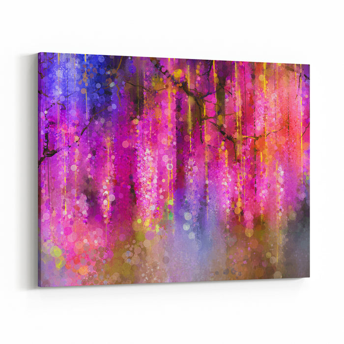 Abstract Violet Red And Yellow Color Flowers Watercolor Painting Springpurple Flowers Wisteria Tree In Blossom With Bokeh Background Canvas Wall Art