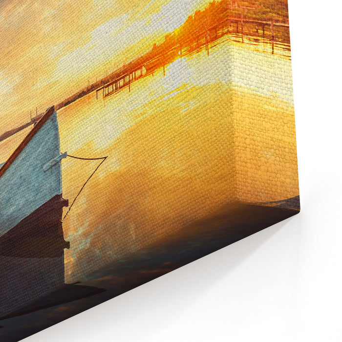 Boat On Lake With A Reflection In The Water At Sunset Canvas Wall Art Print