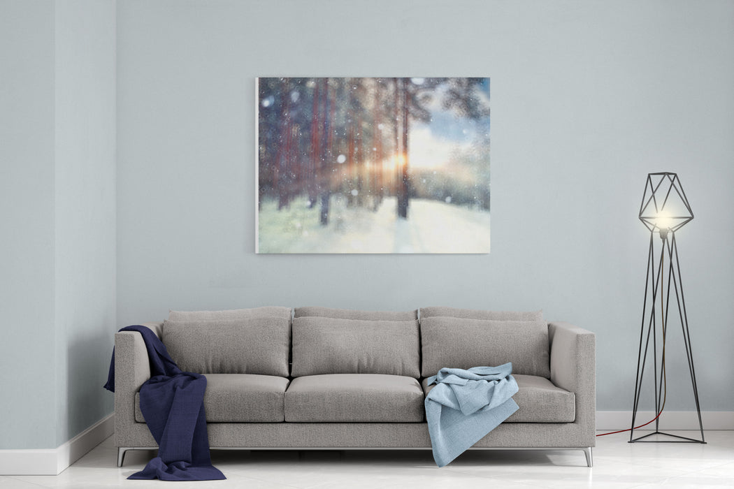 Blurred Background Forest Snow Winter Canvas Wall Art Print