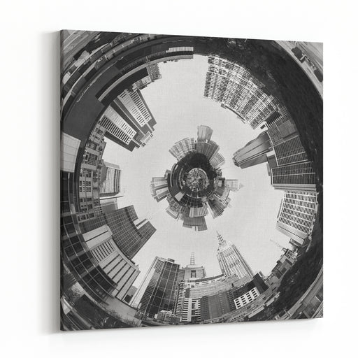 Abstract D Planet Of City In Tunnel Canvas Wall Art Print