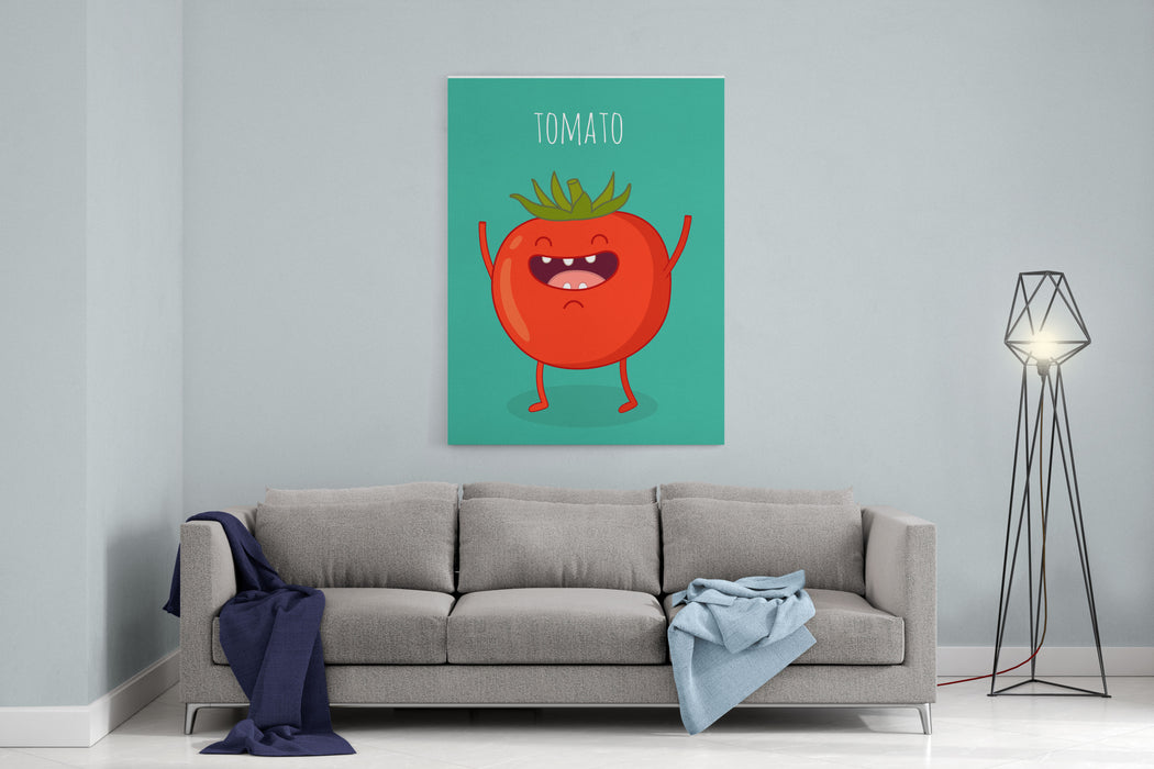 Cartoon Tomato With Eyes And Smiling Funny Tomato Canvas Wall Art Print
