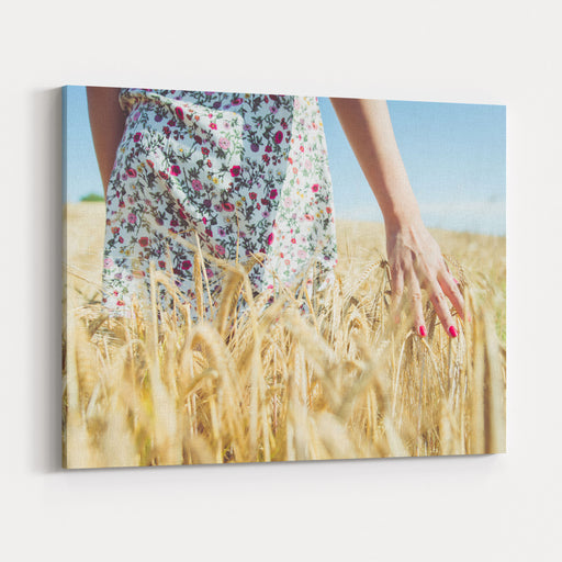 Woman Walking In The Wheat Concept About Nature, Agriculture And People Canvas Wall Art Print