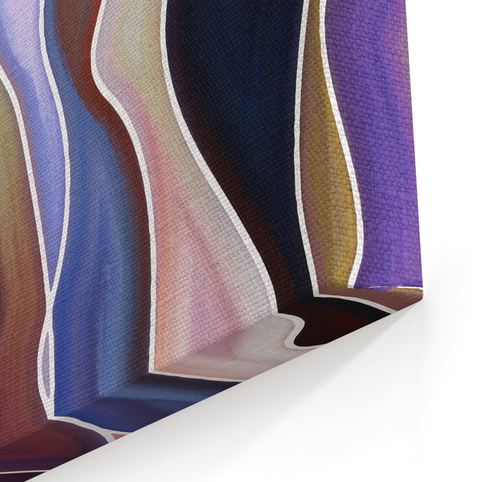 Abstract Design Composed Of Feminine Curved Lines And Colorful Textures Canvas Wall Art Print