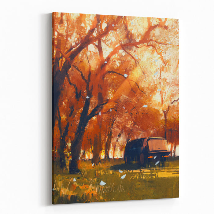 Old Traveling Van In Beautiful Autumn Forest,digital Painting Canvas Wall Art Print