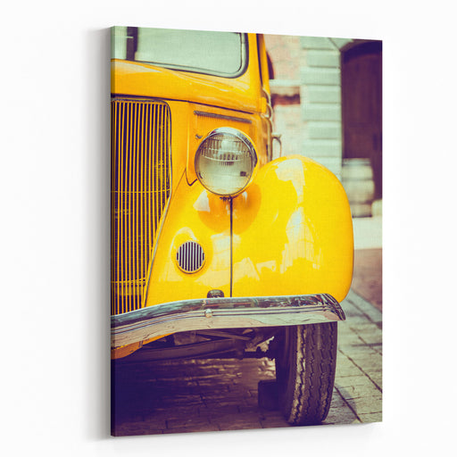 Headlight Lamp  Vintage Car  Vintage Filter Effect Canvas Wall Art Print
