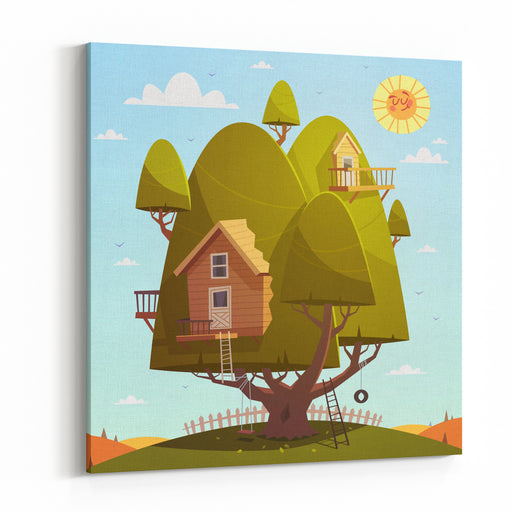 Tree House Kids Background Vector Illustration Canvas Wall Art Print