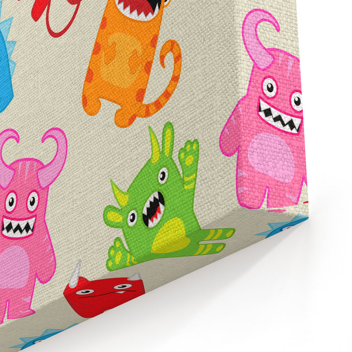 Cartoon Monsters Seamless Pattern Raster Version Canvas Wall Art Print