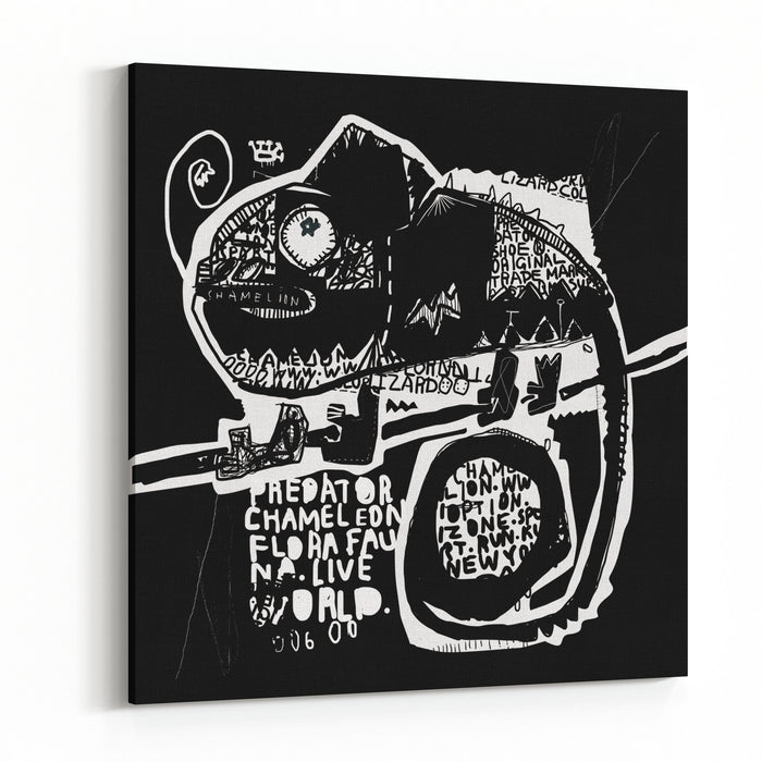 Symbolic Image Of A Chameleon On A Black Background Canvas Wall Art Print