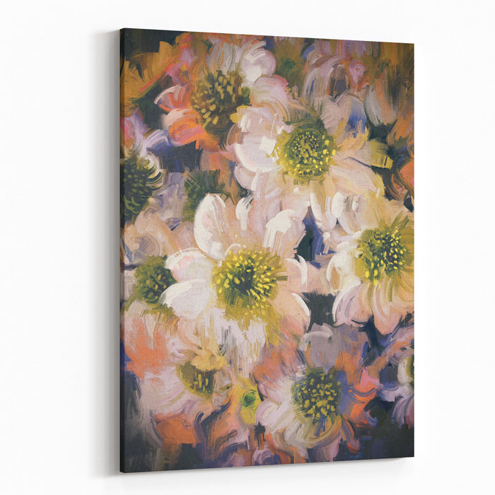 Abstract Background Of Flowers,illustration Painting Canvas Wall Art Print