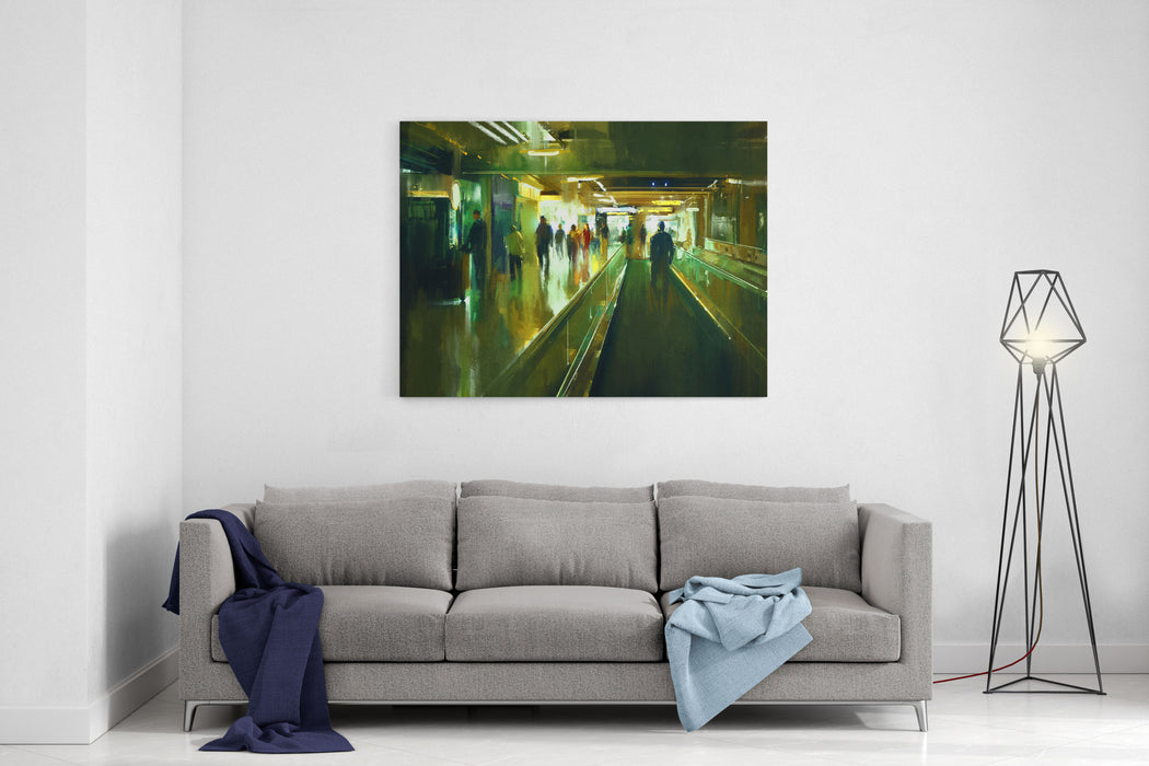 Digital Painting Of People Walking In The Terminal Canvas Wall Art Print