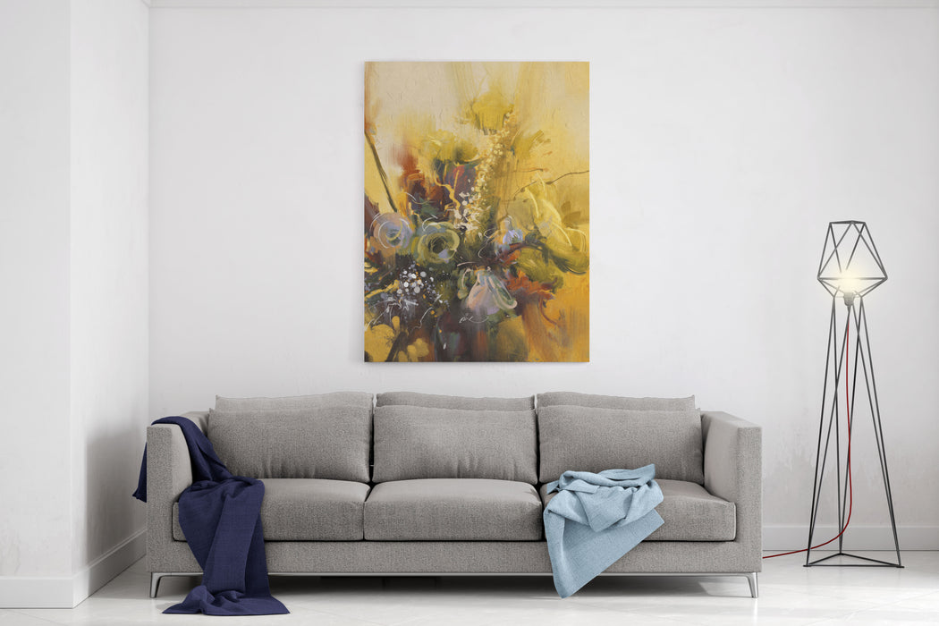 Painting Showing Bouquet Of Beautiful Flowers Canvas Wall Art Print