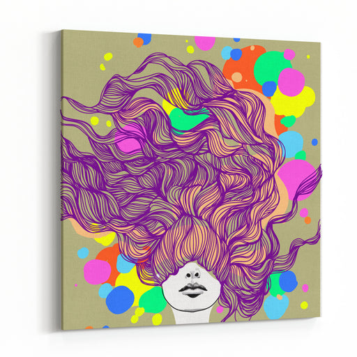 Freehand Vector Illustration With A Beautiful Hair Lady And Bright Blots Canvas Wall Art Print