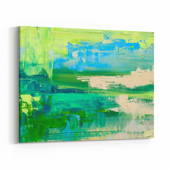 Abstract Art Background Oil Painting On Canvas Green And Blue Texture Fragment Of Artwork Spots Of Oil Paint Brushstrokes Of Paint Modern Art Contemporary Art Canvas Wall Art Print