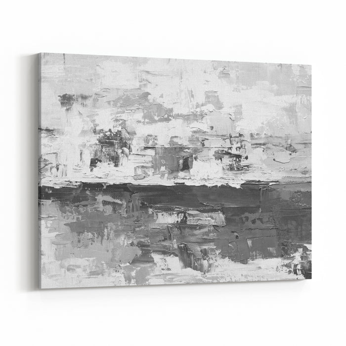 Oil Paint Texture Grunge Black And White Background Fragment Of Artwork Abstract Art Background Oil Painting On Canvas  Brushstrokes Of Paint Modern Art Contemporary Art Canvas Wall Art Print