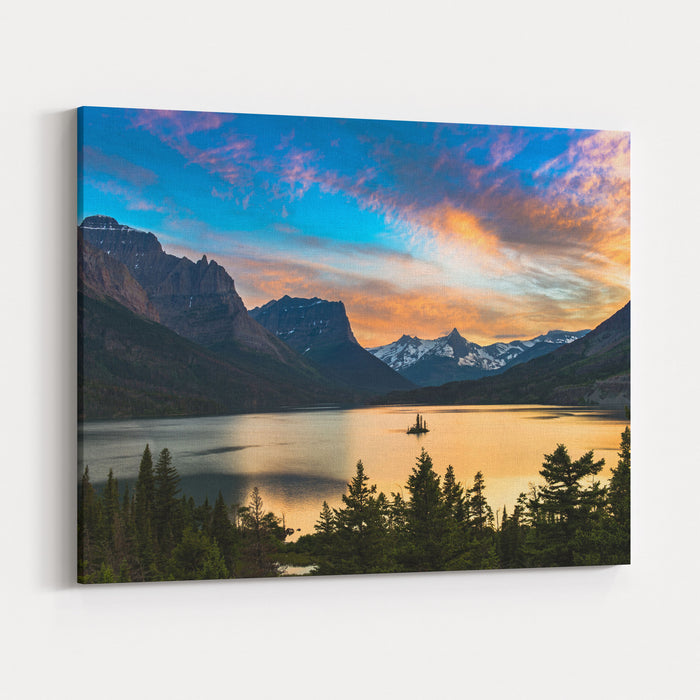 Beautiful Colorful Sunset Over St Mary Lake And Wild Goose Island In Glacier National Park Canvas Wall Art Print