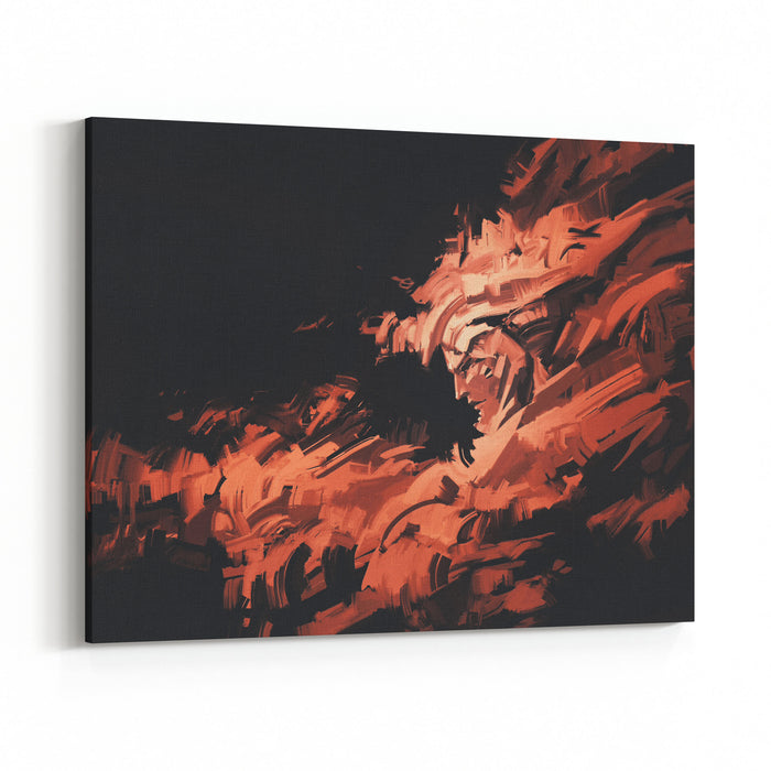 Abstract Painting Of Man Face With Brushstrokes ,illustration Canvas Wall Art Print