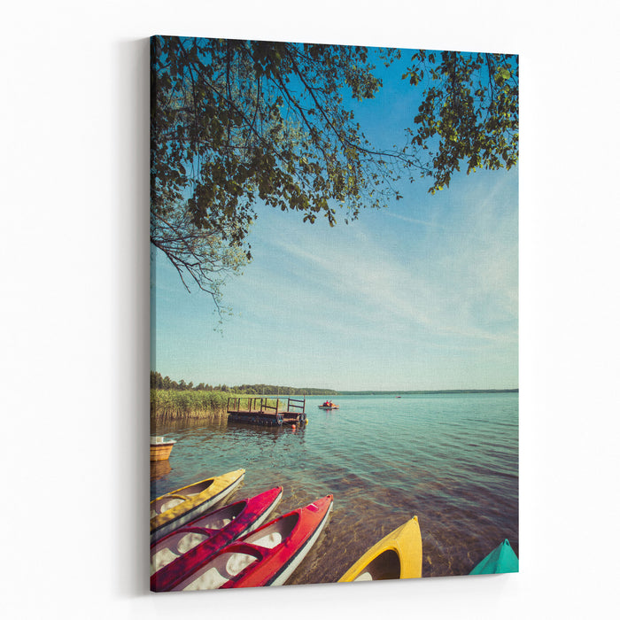 Colorful Kayaks Moored On Lakeshore, Goldopiwo Lake, Mazury, Poland Canvas Wall Art Print