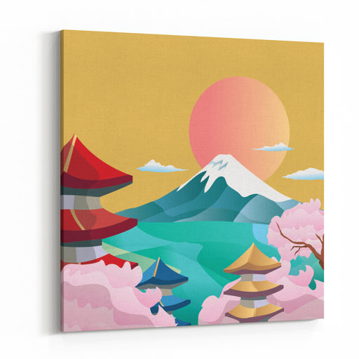 Japan Style Buildings And Fuji Mountain Canvas Wall Art Print