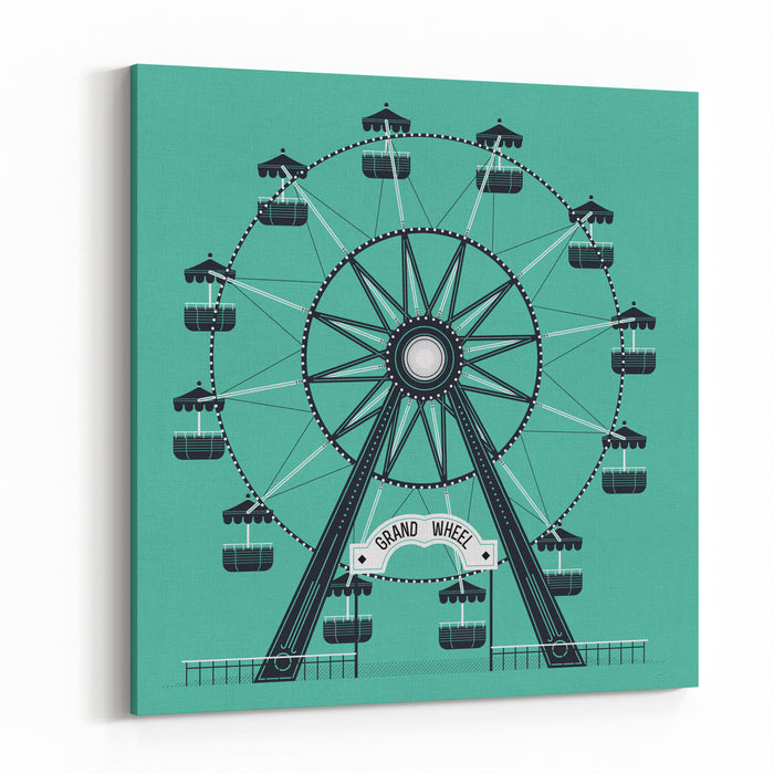 Beautiful Vector Ferris Observation Amusement Country Fair Wheel Ideal For Graphic And Motion Design, Wall Art Posters And Other Printables Canvas Wall Art Print