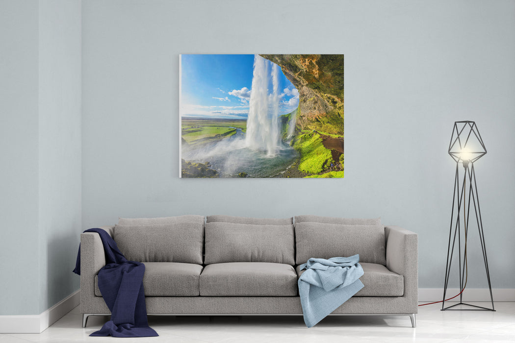 At The Back Of Seljalandsfoss In Iceland Canvas Wall Art Print