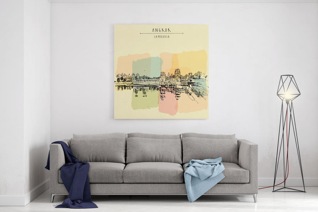 Angkor Wat, Cambodia Hindu  Buddhist Temple Complex The Largest Religious Monument In The World Vintage Touristic Postcard, Grungy Artistic Drawing, Angkor, Cambodia Hand Lettering Canvas Wall Art Print