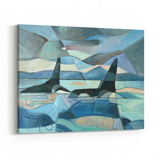 Abstract Painting Of Two Killer Whales Swimming Oil On Canvas Canvas Wall Art Print