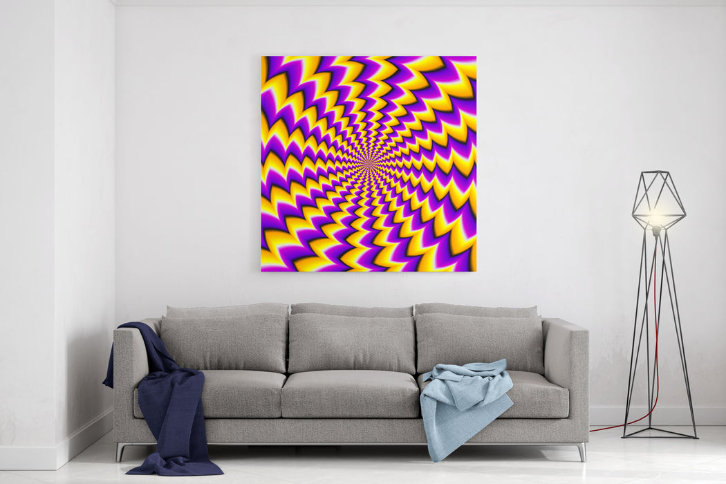 Abstract Yellow Background Spin Illusion Canvas Wall Art Print
