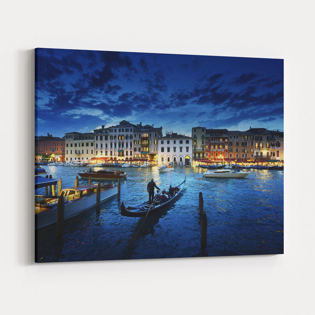 Grand Canal In Sunset Time Venice Italy Canvas Wall Art Print