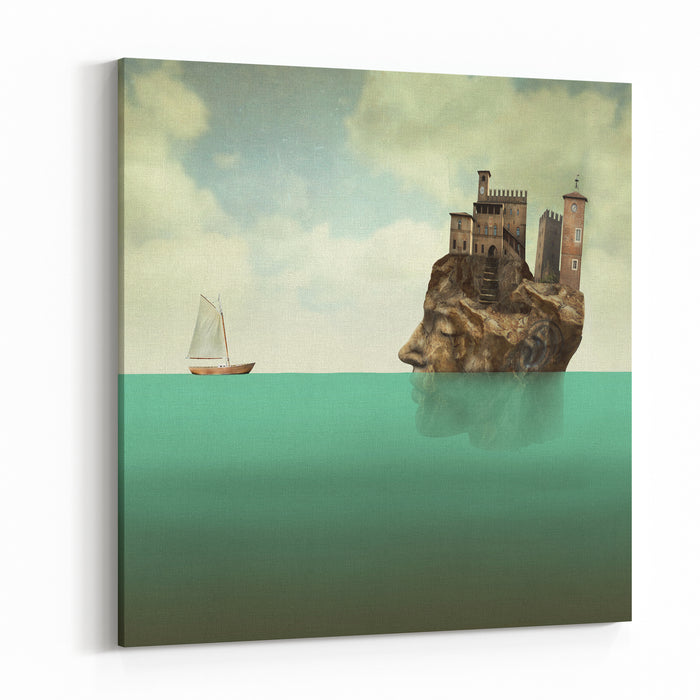 Artistic Surreal Illustration Representing A Head, A Profile Face Of Man In Stone With Ancient Towers, A Village On Top Of It In The Sea With A Small Sailboat Canvas Wall Art Print
