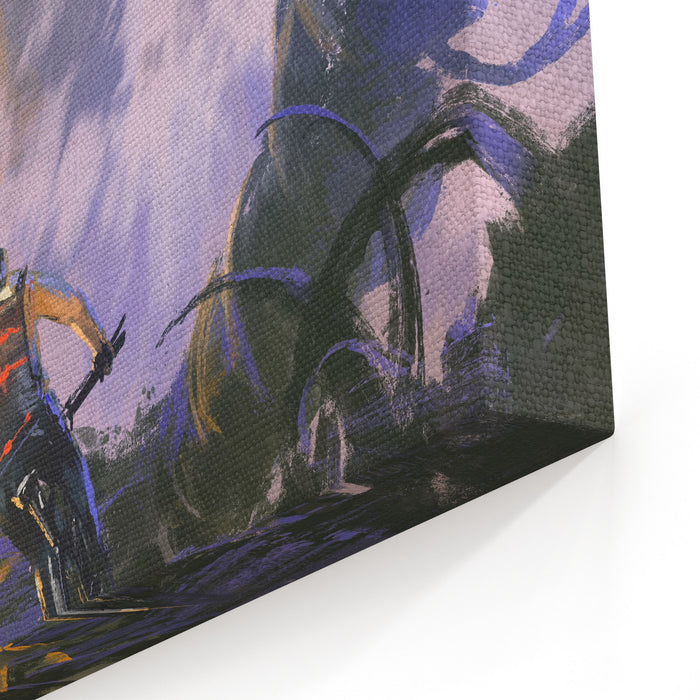 Illustration Painting Of Cyclist Riding A Mountain Bike Climbing On The Rocky Peak Canvas Wall Art Print